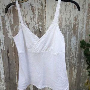 White Linen Tank Top